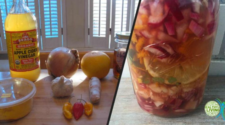 Homemade Fire Cider Tonic with ACV for Fighting Cold and Improving Digestion